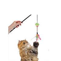 Karlie-Flamingo (Карли-Фламинго) BALL&FEATHERS игрушка дразнилка для кошек, удочка с мячом и перьями, 50 см
