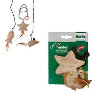 Karlie-Flamingo (Карли-Фламинго) TWINIES WITH FEATHER игрушки для кошек с кошачьей мятой, бежевый текстиль