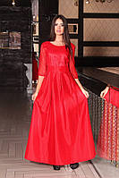 Длинное модное платье из тафты.