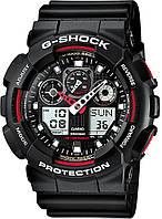 Часы мужские наручные в стиле Casio G-Shock GA-100 черно-красные (Касио Джи Шок) электронные противоударные