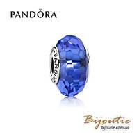 Pandora шарм СИНЕЕ ОГРАНЕННОЕ МУРАНО 791067 серебро 925 Пандора оригинал