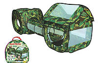 Палатка с туннелем для детей 999-144: 230х70х85 см, сумка 50х50х7 см, самооткрывающаяся, камуфляж