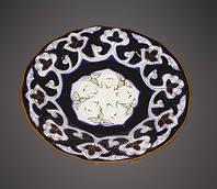 Узбекская посуда Пахта-золотая, ручная роспись. Тарелка, диаметр 17 см.