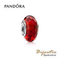Pandora шарм КРАСНОЕ ОГРАНЕННОЕ МУРАНО 791066 серебро 925 Пандора оригинал