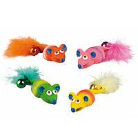 Karlie-Flamingo (Карли-Фламинго) MOUSE FEATHER&BELL игрушка для кошек, мышка с перышком и колокольчиком