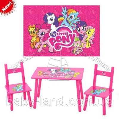 Столик детский со стульчиками деревянный Розовый пони Bambi M 1522