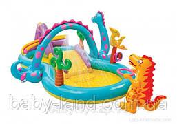 Ігровий центр дитячий надувний басейн Планета динозаврів з гіркою і душем Intex 57135