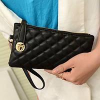 Стильный женский клатч кошелек черного цвета, фото 1