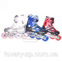 Ролики размер 36-39 раздвижные для детей шнуровка бакля алюминий Profi A 4051 S