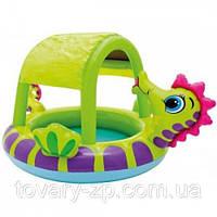 Бассейн надувной детский с навесом Морской Конек Intex 57110