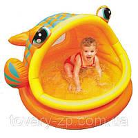 Бассейн надувной детский Рыбка с навесом Intex 57109