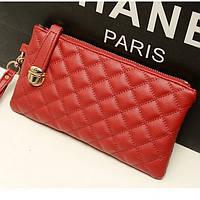 Стильный женский клатч кошелек красного цвета, фото 1