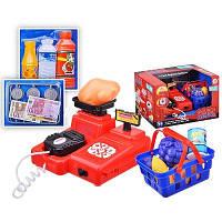 Игрушечный кассовый аппарат 8089 A со звуковыми/световыми эффектами, весы, сканер, деньги, продукты