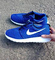 Кроссовки мужские Nike (найк) Roshe Run (рош раны) синие белая подошва 2017