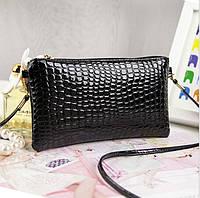 Жіночий клатч гаманець чорного кольору, фото 1