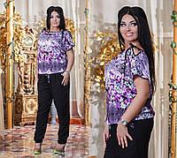 Костюм штапельный, однотонные брюки и цветная кофта. Код:272746266