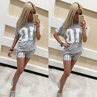 Женский костюм свободная футболка и шорты, фото 1