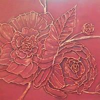 Барельеф Цветы бордовые