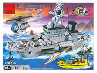 Конструктор детский Военный корабль BRICK 821