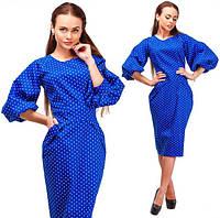Женское джинсовое платье батал в горошек Код:287332356