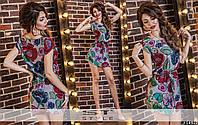 Стильное шелковое короткое платье