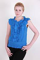 Легкая модная женская блуза синего цвета