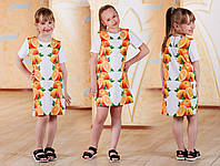 Платье детское беленькое с апельсинами