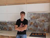 """Скинали - Кухонный фартук """"Орхидея белая"""", фото 1"""