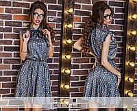Сатиновое летнее  женское платье с принтом