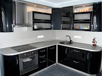 Угловая Кухня в черном глянце