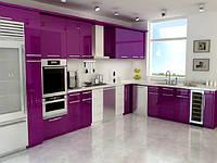 Фиолетовая кухня в современном интерьере Харьков, фото 1