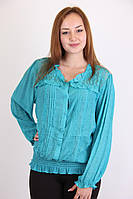 Модная легкая женская блуза бирюзового цвета