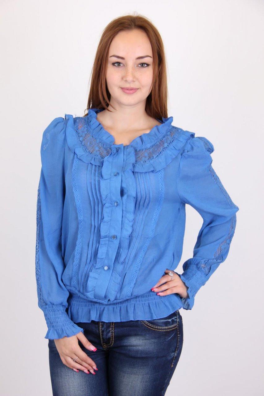 Яркая голубая женская блуза. Размер: 44,46,48,50.