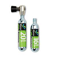 Баллон CO2 Genuine Innovation + клапан, 2 шт (16гр+20гр) (ST)