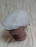 Чоловіча восмиклинка молочний льон з нашивкою на потилиці кепки 59-60, фото 5