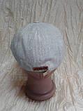Чоловіча восмиклинка молочний льон з нашивкою на потилиці кепки 59-60, фото 3