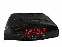 Часы сетевые VST 905-1 красные, сетевые часы с радио, электронные радиочасы, электронные часы с подсветкой