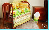 """Бортики в кроватку новорожденного- """"Дино зелен. на желтом фоне"""""""