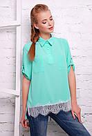Рубашка летняя шифоновая прямого покроя с французским кружевом 42-46 размера