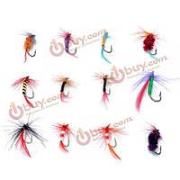 12 шт/комплект различные муха рыболовные крючки летит бас приманки карп