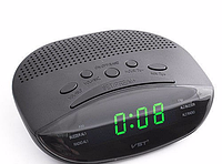Часы сетевые VST 908-2 зеленые, электронные радиочасы, сетевые часы с радио, электронные часы с подсветкой