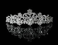 Диадема корона на металлическом обруче, свадебная, высота 3,8 см