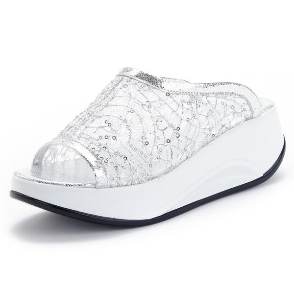 Женские сандалии блестящие