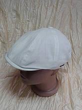 Кепка льон дитяча восмиклинка молочного кольору 48 50