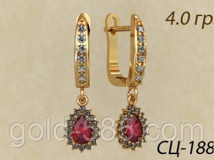 Стильные золотые серьги 585 пробы с россыпью камней - Мастерская ювелирных  украшений «GOLD-585 67cd0f6fc64