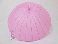 Зонт-трость на 24 спицы MabuTM механика однотонная нежно розовая