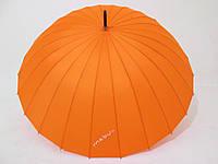 Зонт-трость на 24 спицы MabuTM механика однотонная оранжевая
