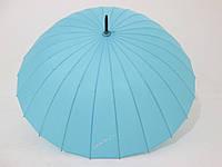 Зонт-трость на 24 спицы MabuTM механика однотонная бирюзово-голубая