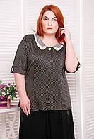 Летняя блуза в горошек с декоративным воротником большого размера 52-60, фото 1