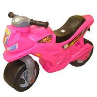 Каталка толокар детский Мотоцикл пластмассовый двухколесный розовый Орион 501Р